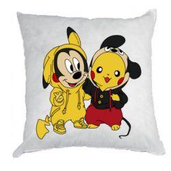 Подушка Пикачу и Микки Маус