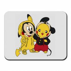 Коврик для мыши Пикачу и Микки Маус