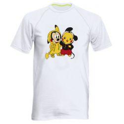 Мужская спортивная футболка Пикачу и Микки Маус