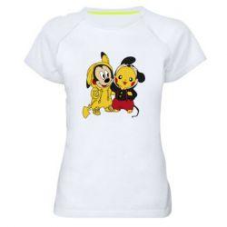 Женская спортивная футболка Пикачу и Микки Маус