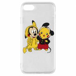 Чехол для iPhone 7 Пикачу и Микки Маус