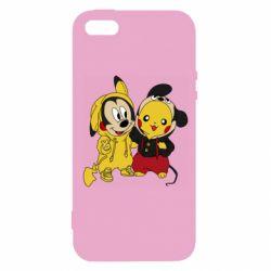 Чехол для iPhone5/5S/SE Пикачу и Микки Маус