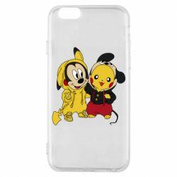 Чехол для iPhone 6/6S Пикачу и Микки Маус
