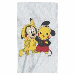 Полотенце Пикачу и Микки Маус