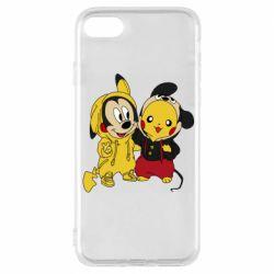Чехол для iPhone 8 Пикачу и Микки Маус