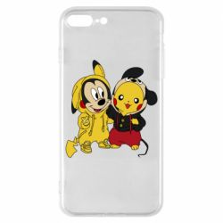 Чехол для iPhone 8 Plus Пикачу и Микки Маус