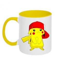 Кружка двухцветная Pikachu in a cap
