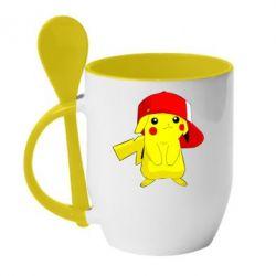 Кружка с керамической ложкой Pikachu in a cap