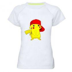 Женская спортивная футболка Pikachu in a cap