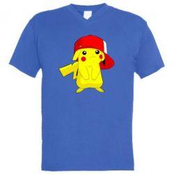 Мужская футболка  с V-образным вырезом Pikachu in a cap