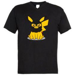 Мужская футболка  с V-образным вырезом Pikachu in balaclava