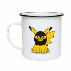 Кружка эмалированная Pikachu in balaclava