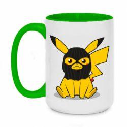 Кружка двоколірна 420ml Pikachu in balaclava
