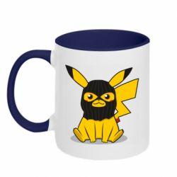 Кружка двухцветная 320ml Pikachu in balaclava