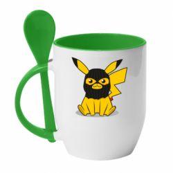 Кружка з керамічною ложкою Pikachu in balaclava