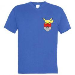 Мужская футболка  с V-образным вырезом Pikachu in pocket - FatLine