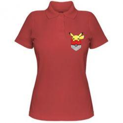 Женская футболка поло Pikachu in pocket - FatLine