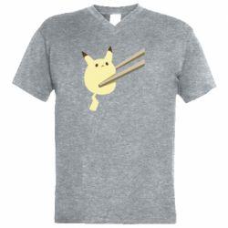 Чоловіча футболка з V-подібним вирізом Pikachu in the sticks