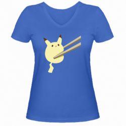 Жіноча футболка з V-подібним вирізом Pikachu in the sticks