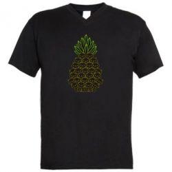 Чоловіча футболка з V-подібним вирізом Pineapple cat