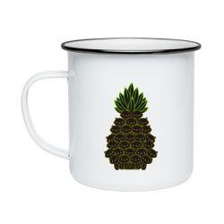 Кружка емальована Pineapple cat