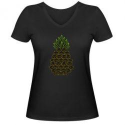 Жіноча футболка з V-подібним вирізом Pineapple cat