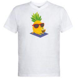 Чоловіча футболка з V-подібним вирізом Pineapple with coconut