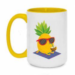 Кружка двоколірна 420ml Pineapple with coconut