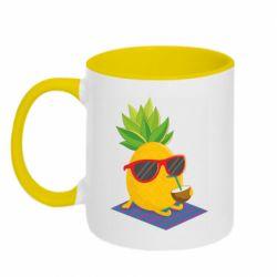 Кружка двоколірна 320ml Pineapple with coconut