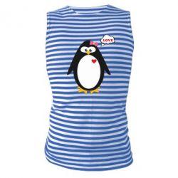 Майка-тельняшка Пингвин девочка - FatLine