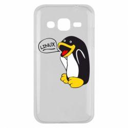 Чехол для Samsung J2 2015 Пингвин Линукс