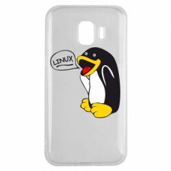 Чехол для Samsung J2 2018 Пингвин Линукс