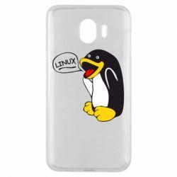 Чехол для Samsung J4 Пингвин Линукс