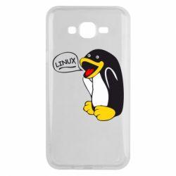 Чехол для Samsung J7 2015 Пингвин Линукс