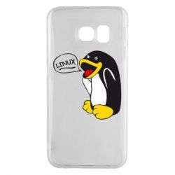 Чехол для Samsung S6 EDGE Пингвин Линукс