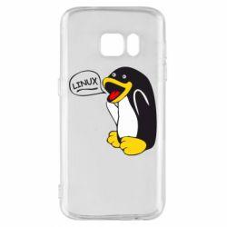 Чехол для Samsung S7 Пингвин Линукс