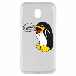 Чехол для Samsung J3 2017 Пингвин Линукс