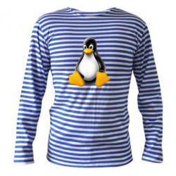 Тельняшка с длинным рукавом Пингвин Linux - FatLine