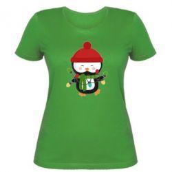 Женская футболка Пингвин с гирляндой - FatLine