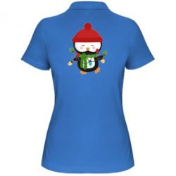 Женская футболка поло Пингвин с гирляндой - FatLine
