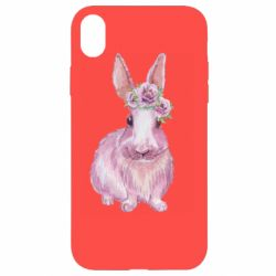 Чохол для iPhone XR Pink bunny with flowers on her head