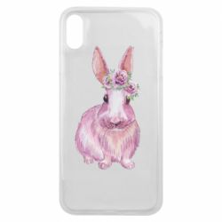 Чохол для iPhone Xs Max Pink bunny with flowers on her head