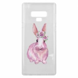 Чохол для Samsung Note 9 Pink bunny with flowers on her head