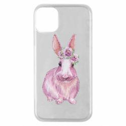 Чохол для iPhone 11 Pro Pink bunny with flowers on her head