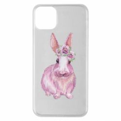 Чохол для iPhone 11 Pro Max Pink bunny with flowers on her head