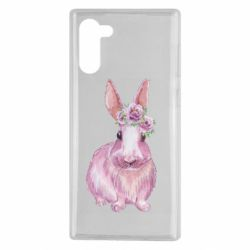 Чохол для Samsung Note 10 Pink bunny with flowers on her head