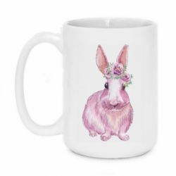 Кружка 420ml Pink bunny with flowers on her head