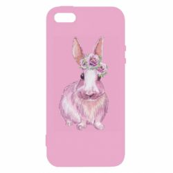 Чохол для iphone 5/5S/SE Pink bunny with flowers on her head