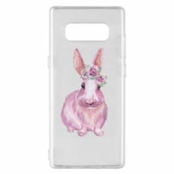 Чохол для Samsung Note 8 Pink bunny with flowers on her head
