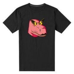 Чоловіча стрейчева футболка Pink dinosaur with glasses head